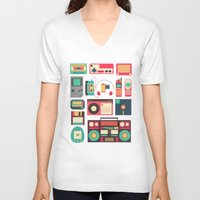 technology V-neck T-shirts featuring Retro Technology 1.0 by Ralph Cifra