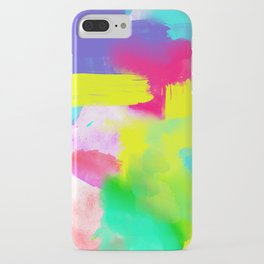 Neon Emotion | Abstract Stripes Neon Artistic Watercolor Pattern iPhone Case