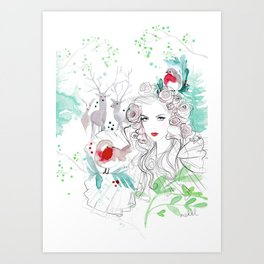 Christmas in the forest Art Print