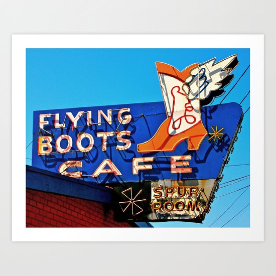 Flying Boots Cafe Art Print