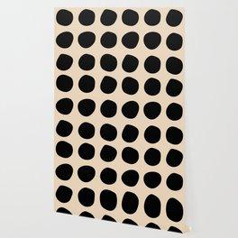 Irregular Polka Dots black and cream Wallpaper