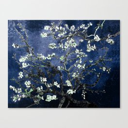 Vincent Van Gogh Almond Blossoms Dark Blue Canvas Print