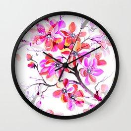 Watercolor Sakura Cherry Blossom Fuchsia Wall Clock