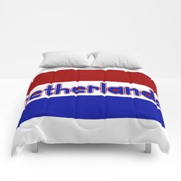 Netherlands Flag with Dutch Font Comforters