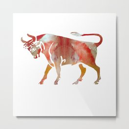 Pink Watercolor Taurus Metal Print