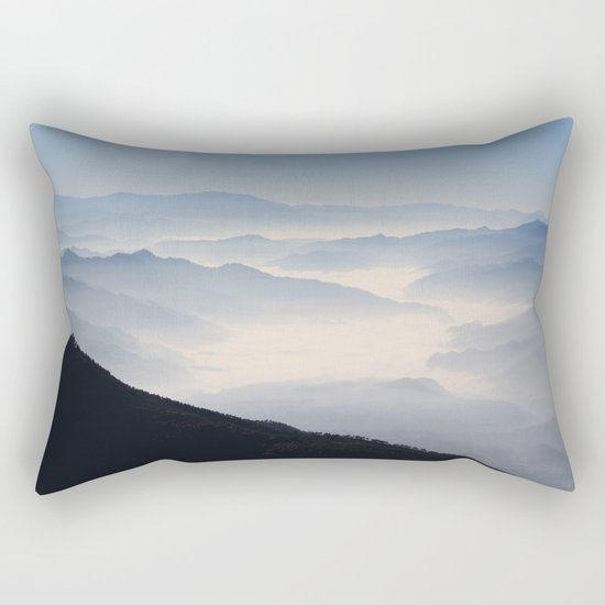 Blue Valley #mountains Rectangular Pillow
