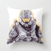 master chief Throw Pillows featuring Halo Master Chief by DeMoose_Art