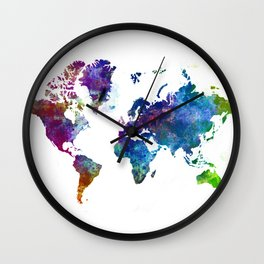 World Map Illustration Wall Clock