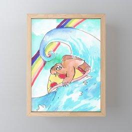 surfing sloth pizza rainbow Framed Mini Art Print