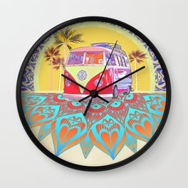 "BusLife Vintage Inspired ""Live Free"" Poster print Wall Clock"