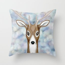white-tailed deer woodland animal portrait Throw Pillow