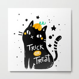 Black cat with halloween style Metal Print