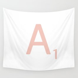 Pink Scrabble Letter A - Scrabble Tile Art Wall Tapestry