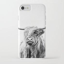 portrait of a highland cow - vertical orientation iPhone Case