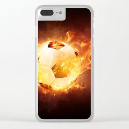 Fire Football Soccer Sport Clear iPhone Case