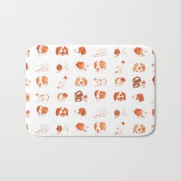 Faces and Poses of a Brittany Spaniel Bath Mat
