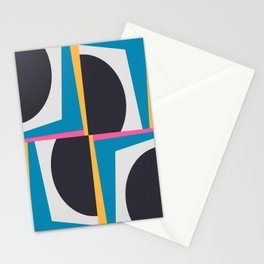 Modern Geometric 65 Blue Stationery Cards