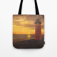 milwaukee Tote Bags featuring Milwaukee Lighthouse by Hatton Custom Design