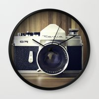 old school Wall Clocks featuring Old School by Jessica Gullasch