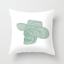 Cowboy Skull Drawing Throw Pillow