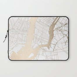 New York City White on Gold Laptop Sleeve