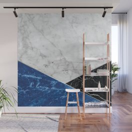 Geometric White Marble - Blue Granite & Black Granite #514 Wall Mural