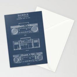 Boombox blueprints Stationery Cards
