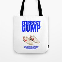 forrest gump Tote Bags featuring Forrest Gump Movie Poster by FunnyFaceArt