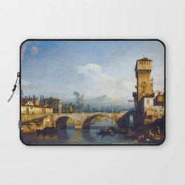 Bernardo Bellotto - Capriccio with a River and Bridge Laptop Sleeve