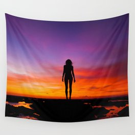 SUNRISE - SUNSET - WOMAN - BLACK - PHOTOGRAPHY Wall Tapestry