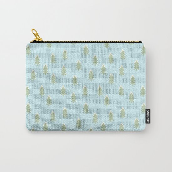 Merry christmas- With snow covered x-mas trees pattern on aqua backround Carry-All Pouch
