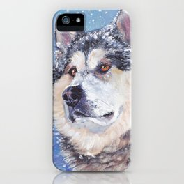 Alaskan Malamute dog portrait Fine Art Dog Painting by L.A.Shepard iPhone Case