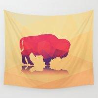 buffalo Wall Tapestries featuring Geometric buffalo by BlueLela