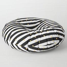 Modern black white gold polka dots striped pattern Floor Pillow