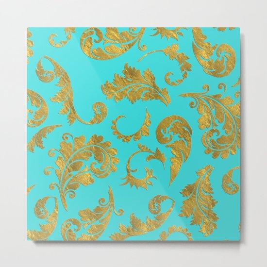 Queenlike on aqua - Gold glitter ornaments on aqua background- pattern Metal Print