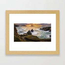 Sunset at Dunquin Pier Framed Art Print