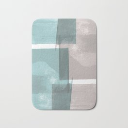 Modern Geometric Abstract Turquoise and Grey Bath Mat
