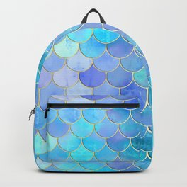 Aqua Pearlescent & Gold Mermaid Scale Pattern Backpack