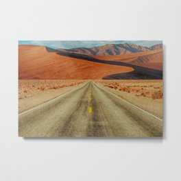 'Lonely Desert Road A Thousand Miles From Nowhere' landscape painting Metal Print
