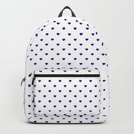Mini Navy Blue Love Hearts On White Backpack