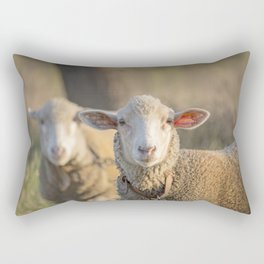 Curious white sheep looking directly at camera Rectangular Pillow