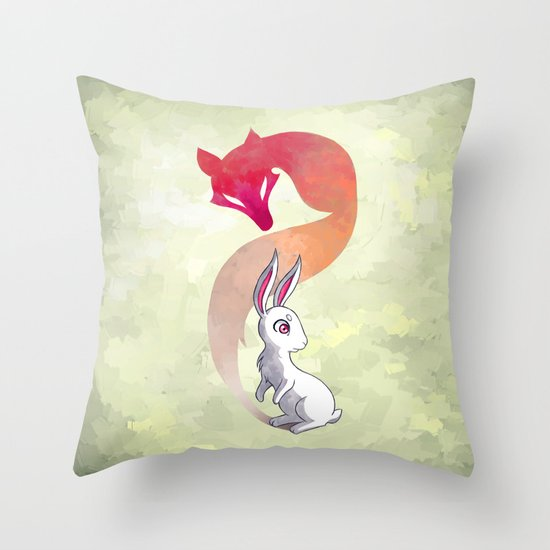 Rabbit and a Fox Throw Pillow