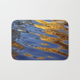 Blue and Gold Water Reflection Bath Mat