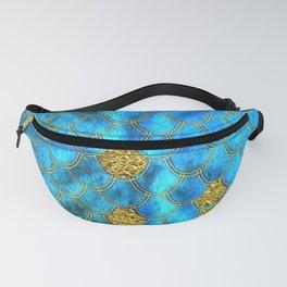 Blue Aqua Turquoise And Gold Glitter Mermaid Scales -Beautiful Mermaidscales Pattern Fanny Pack