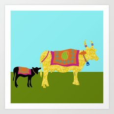 Streets of India- Cows Art Print