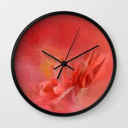 Salmon Hibiscus 3 - Floral Wall Clock