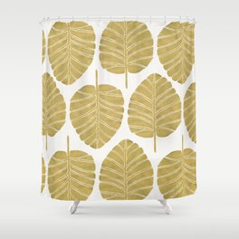Elephant Ear Alocasia – Gold Palette Shower Curtain