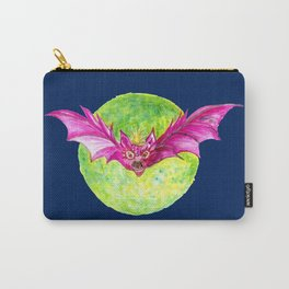 Pink Bat in Watercolor Carry-All Pouch