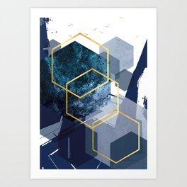 Abstract Landscape in Navy + Gold Art Print