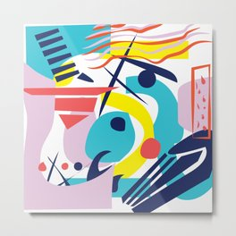 Bright Colorful Abstract Shapes Paper Cut Metal Print